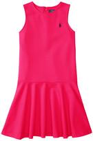 Polo Ralph Lauren Ponte Short Sleeve Pleated Dress (Little Kids/Big Kids)