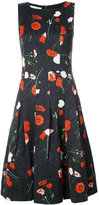 Oscar de la Renta poppy print drop waist dress