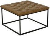 HomePop Draper Brown Faux Leather Ottoman with Button Tufting