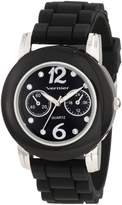 Vernier Women's VNR11069SS Glossy Stone Markers Rubber Strap Quartz Watch