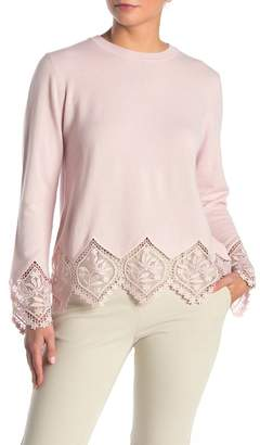 Ted Baker Lace Trim Knit Wool Blend Sweater