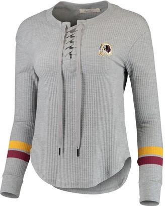 Junk Food Clothing Unbranded Women's Heathered Gray Washington Redskins Team Logo Thermal Lace-Up V-Neck Long Sleeve T-Shirt