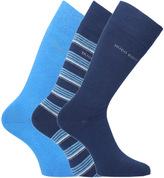 Boss Three Pairs Navy & Azure Blue Soft Cotton Socks