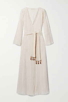 Savannah Morrow The Label + Net Sustain Amity Embellished Belted Crinkled Organic Cotton-gauze Wrap Dress - Cream