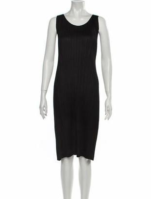 Pleats Please Issey Miyake Scoop Neck Knee-Length Dress Black