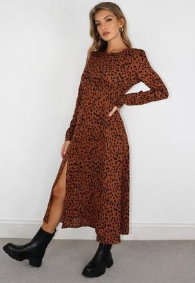Missguided Rust Dalmatian Print Ruched Bust Midi Dress