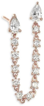 Anita Ko 18K Rose Gold & Diamond Double Pear Loop Single Earring