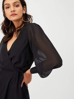 Very Wrap Georgette Dress - Black