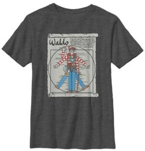 Fifth Sun Where's Waldo Big Boy's Vitruvian Waldo On A Scroll Short Sleeve T-Shirt