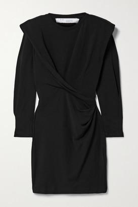 IRO Beckett Draped Cotton-jersey Mini Dress - Black