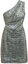 Haney - Valentina One-shoulder Sequined Georgette Mini Dress - Gunmetal