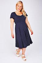 Yours Clothing SCARLETT & JO Navy & White Polka Dot Jersey Dress