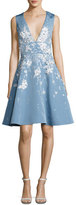 Prabal Gurung Sequined Floral-Embroidered Sleeveless Fit & Flare Dress, Sky