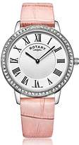 Rotary Women's Quartz Watch with Mother Of Pearl Dial Analogue Display and Blue Leather Strap LS00358/06/B