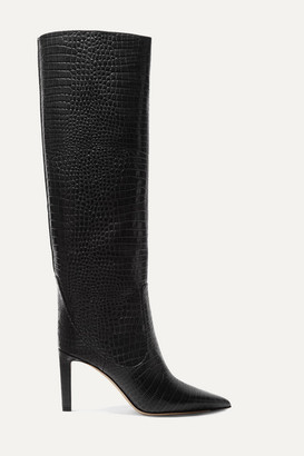 Jimmy Choo Mavis 85 Croc-effect Leather Knee Boots - Black