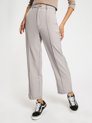Stussy Palermo Wide Leg Check Pants in Rose