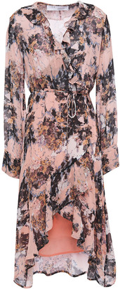 IRO Garden Ruffled Floral-print Chiffon Wrap Dress