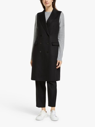 Theory Luxury Wool Vest Coat, Black