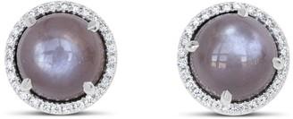 Ri Noor Moonstone & Diamond Baguette Stud Earrings