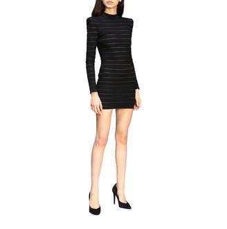 Balmain Long-sleeved Dress In Shaped Fabric