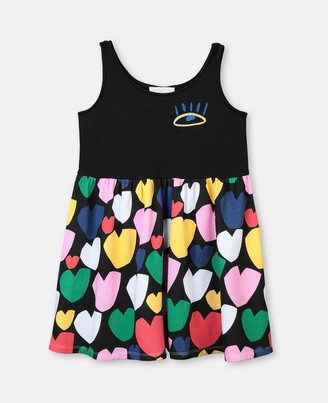 Stella McCartney multicolour hearts fleece dress
