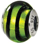 Murano Prerogatives Sterling Green Swirls Italian Glass Bead