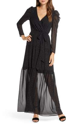 Eliza J Long Sleeve Faux Wrap Chiffon Maxi Dress