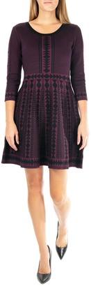 Nina Leonard Geometric Print 3/4 Sleeve Sweater Dress