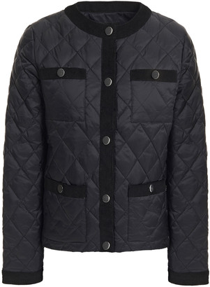 Maje Corduroy-trimmed Quilted Shell Jacket