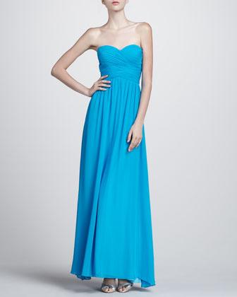 Aidan Mattox Wrapped Bodice Strapless Gown, Bright Aqua