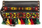 Valentino Rockstud bead-embellished leather clutch