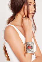 Missguided Coral Stone Cuff Bracelet Silver