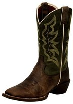 Justin Boots Justin Western Boots Men Square Toe Riding Heel Brown Green 2569