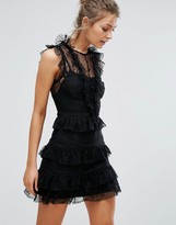 True Decadence Lace Mini Dress with Tiering and Frills
