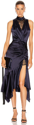 Jonathan Simkhai Lace Slit Dress in Midnight & Black | FWRD