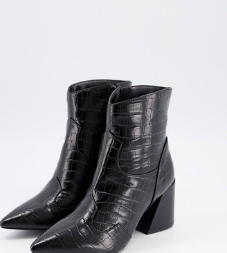 Simply Be extra wide fit heeled boot in black croc