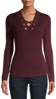 No Boundaries Juniors' Ribbed Lace Up Long Sleeve Sweater