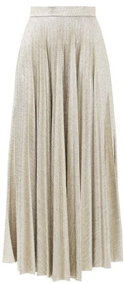 Emilia Wickstead Sunshine Pleated Lame Jersey Skirt - Womens - Gold