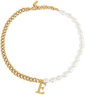 joolz by Martha Calvo Pearl + Chain Initial Necklace