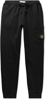 Stone Island Slim-Fit Tapered Logo-Appliqued Garment-Dyed Loopback Cotton-Jersey Sweatpants