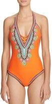 Trina Turk Dashiki Plunge One Piece Swimsuit