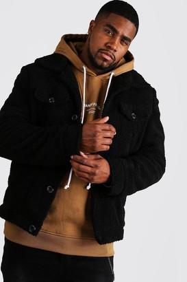 boohoo Mens Black Big & Tall Borg Trucker Jacket, Black