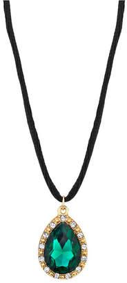Downton Abbey Crystal Emerald Teardrop on Cord Necklace
