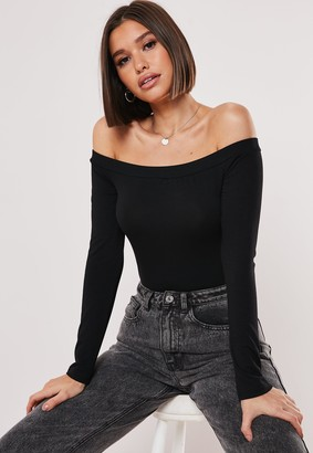 Missguided Black Bardot Long Sleeve Bodysuit