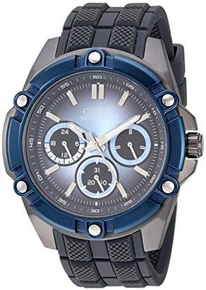 GUESS Men's Stainless Steel Analog Watch with Silicone Strap