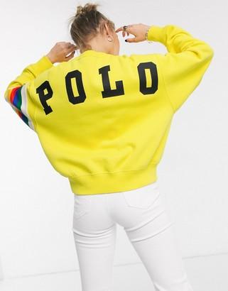 Polo Ralph Lauren crew neck sweater back logo in yellow