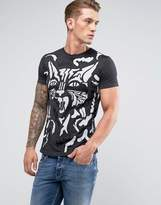 Diesel T-diego-op Acid Wash Cat Print T-shirt