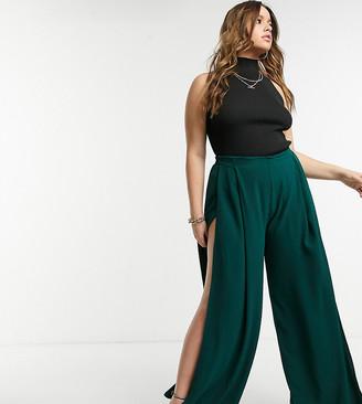 ELVI Plus wide leg pants in green