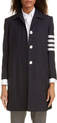 Thom Browne 4-Bar Long Wool Jacket