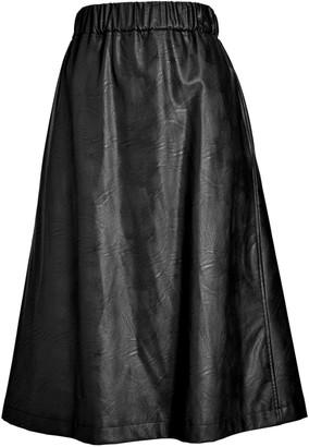 Helene For Denim Wardrobe Faux Leather A-Line Skirt